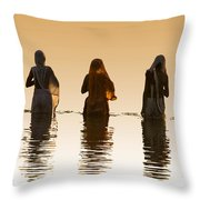 Bathing In The Holy River 2 Throw Pillow