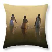 Bathing In The Holy River By Dominique Amendola Throw Pillow