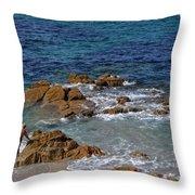 Bathing In The Sea - La Coruna Throw Pillow
