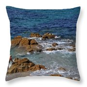 Bathing In The Sea - La Coruna Throw Pillow by Mary Machare