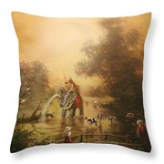 Bathing The Royal Elephant Throw Pillow