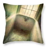 Bathtub In Abandoned House Throw Pillow