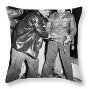 Batista Visits Shrimp Boat Throw Pillow