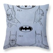 Batman Mask Patent Throw Pillow