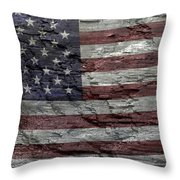 Battered Old Glory Throw Pillow