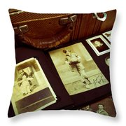 Battered Suitcase Of Antique Photographs Throw Pillow