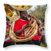 Battered Tuba Blues Throw Pillow