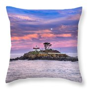 Battery Point Lighthouse And Moon Throw Pillow
