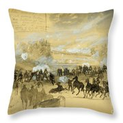 Battle At White Oak Swamp Bridge Throw Pillow