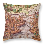 Battle Between Indian Tribes Throw Pillow