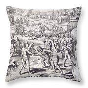 Battle Between Tuppin Tribes Throw Pillow
