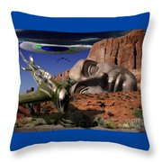 Battle For The Ancient Face Throw Pillow