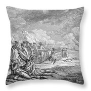 Battle Of Lexington, April 19th 1775, From Recueil Destampes By Nicholas Ponce, Engraved Throw Pillow