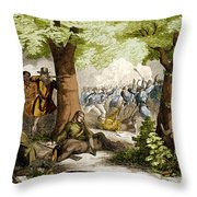 Battle Of Oriskany, 1777 Throw Pillow