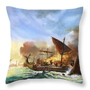 Battle Of Salamis Throw Pillow