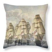 Battle Of Trafalgar Throw Pillow by Robert Dodd