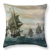 Battle Of Virginia Capes Throw Pillow