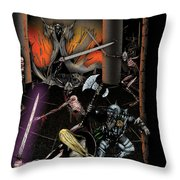 Battle With The Mage-king Throw Pillow