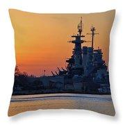 Battleship Sunset Throw Pillow