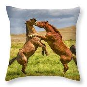 Battling Stallions Throw Pillow