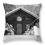 Bavarian Hut In Snow Throw Pillow