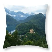 Bavarian Lake With Castle Throw Pillow