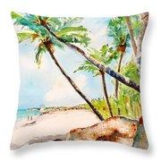 Bavaro Tropical Sandy Beach Throw Pillow