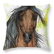Bay Arabian Horse Watercolor Painting  Throw Pillow