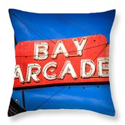 Bay Arcade Sign In Newport Beach Balboa Peninsula Throw Pillow