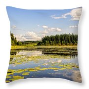 Bay At The Waskesiu Lake With Lily Throw Pillow