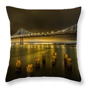 Bay Bridge And Clouds At Night Throw Pillow
