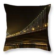 Bay Bridge And Fog  Throw Pillow
