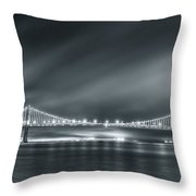 Bay Bridge And The Fog Throw Pillow