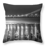 Bay Bridge Black And White Throw Pillow