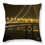 Bay Bridge Fog Throw Pillow