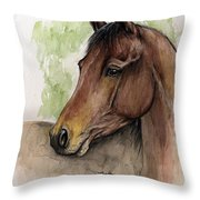 Bay Horse Portrait Watercolor Painting 02 2013 A Throw Pillow