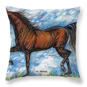 Bay Horse Running Throw Pillow