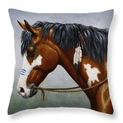 Bay Native American War Horse Throw Pillow by Crista Forest