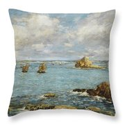 Bay Of Douarnenez Throw Pillow by Eugene Louis Boudin