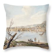 Bay Of Naples From Sea Shore Throw Pillow