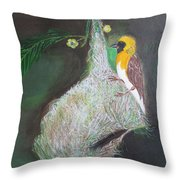 Baya Weaver At Nest Throw Pillow