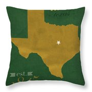 Baylor University Bears Waco Texas College Town State Map Poster Series No 018 Throw Pillow