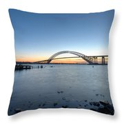 Bayonne Bridge Longe Exposure Sunset Throw Pillow