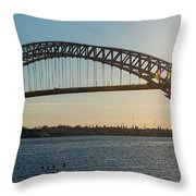 Bayonne Bridge Panoram Sunset Throw Pillow