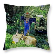 Bayou Crow Scarecrow At Bellingrath Gardens Throw Pillow