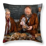 Bazaar - We Sell Fresh Mushrooms Throw Pillow by Mike Savad