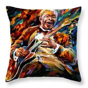 Bb King - Palette Knife Oil Painting On Canvas By Leonid Afremov Throw Pillow