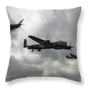 Bbmf Lancaster Spitfire Hurricane Throw Pillow