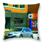 Bbq Coreen Korean Resto Cavendish St Jacques Montreal Summer Cafe City Scene Carole Spandau Throw Pillow