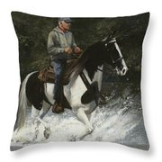 Big Creek Man On Spotted Horse Throw Pillow